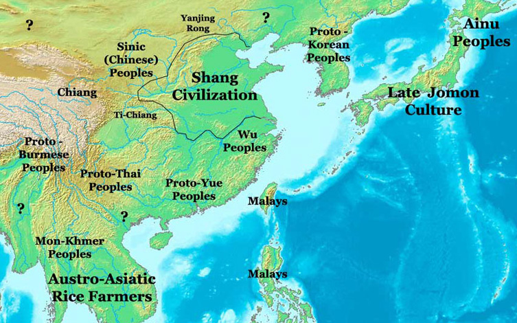 Carte de la dynastie Shang